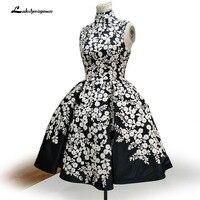 Vestidos коктель элегантный черный Коктейльные платья 2018 короткие Кружево Аппликации атласные рукавов вечерние платья для Выпускной