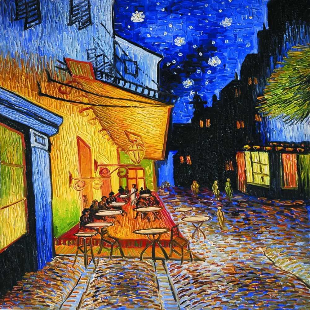 Cafe Terrace Por La Noche Por Vincence Van Gogh Pared Lienzo