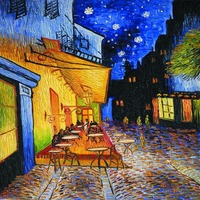 Cafe Terrace At Night By Vincent Van Gogh Canvas Printing Art Painting Reproductions Street Scenes Landscape