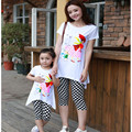 2016 Brand Summer Matching Mom And Daughter Cartoon Cotton Clothing Set Short Sleeve T-shirt+ Pants Mom Daughter Clothing Set