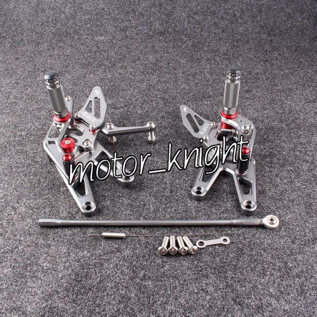 R6 Rear Sets Motorcycle Foot Pegs Adjustable Set For 2003-2005 YZF R6 2006-2009 R6S Grey