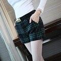 Juniors Niñas Plaid Shorts Mujeres de Cintura Alta Lulu Booty Shorts Inglaterra Estilo Más Tamaño Pantalones Cortos de Celosía