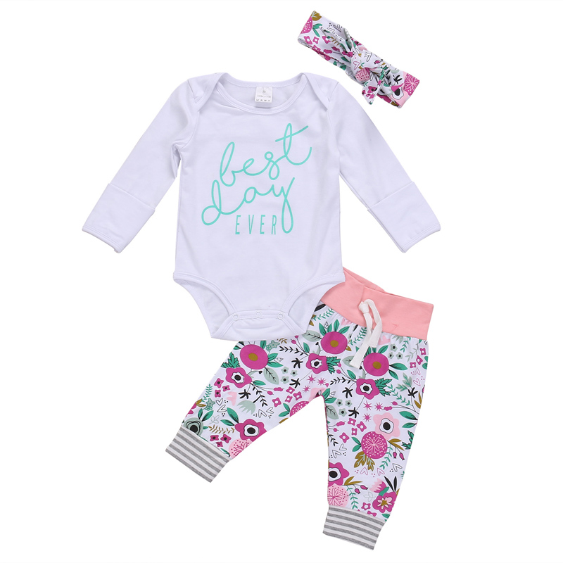 3Pcs New Casual Newborn Baby Boys Girls Clothes Letter Cotton Tops Romper Floral Pants Outfits Set Clothes