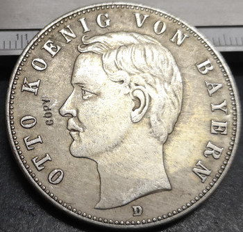 1908-D Kingdom of Bavaria 5 Mark-Otto Silver Plated Copy Rare coin image