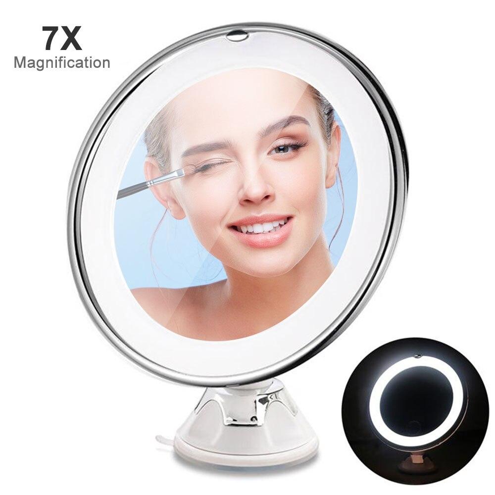 Erfinderisch Aikimuse 7x Led Make-up Spiegel Locking Saugnapf Helle Diffuses Licht Von 360 Grad Der Drehung Von Make-up Kosmetik Duftendes Aroma In
