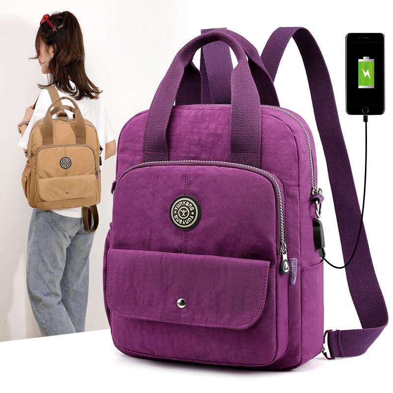 New Women Backpack Multifunction Waterproof Nylon Lady Women Backpacks Female Casual Travel bag Bags mochila feminina u s b-in Backpacks from Luggage & Bags