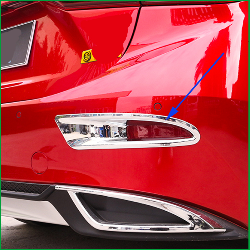 Car styling High Quality ABS Chrome Rear Fog lamp cover Trim Fog lamp shade Trim For Mazda 3 Axela M3 2017 Sedan Fog light trim|light trim|fog light trim|fog lamp cover - title=
