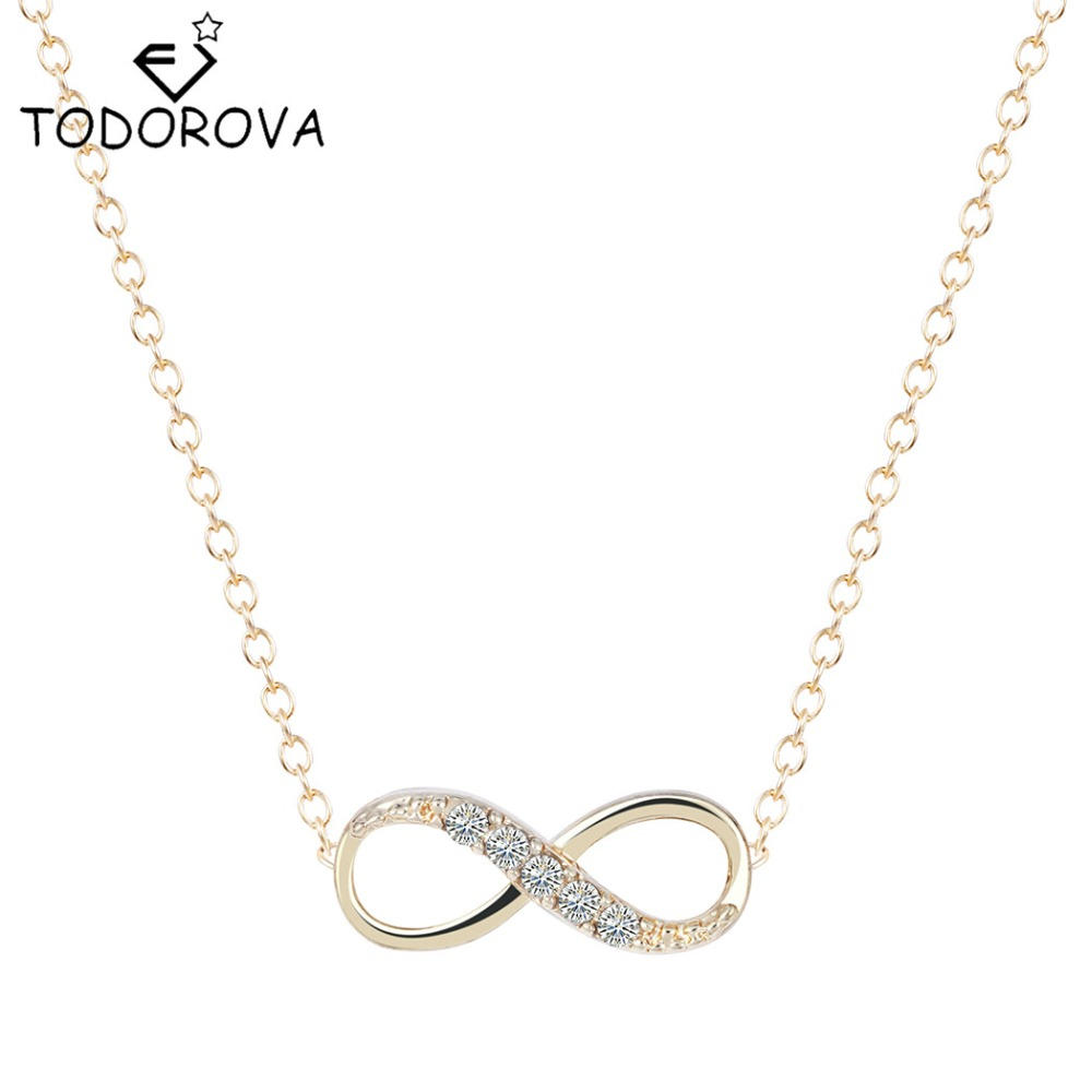 Tiny Infinity Crystal Pendant Necklaces for Women Simple Lucky Number Eight Geometric Women Gold Silver Chain Necklace