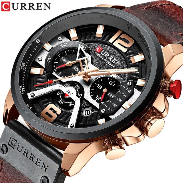 CURREN для мужчин s часы лучший бренд класса люкс кожа спортивные часы модные хронограф кварцевые человек часы водонепроницаемый