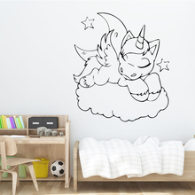 Free Shipping Diy Lovely Unicorn Wall Sticker Kids Bedroom Decoration Removeable Vinyl Living Room Background Art Decal