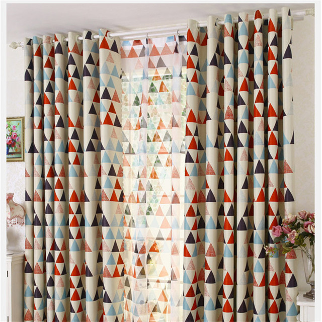Triangle Print Window Korean Style Curtains Poly Cotton Blend Fabric High Quality 2 Color Process Finished