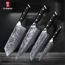 2019TURWHO 4 шт, набор профессиональных кухонных ножей из дамасской стали, супер острые ножи для шеф-повара santoku, канцелярские ножи с ручкой G10