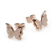 stainless steel Butterfly Stud Earring for women mix color order wholesale
