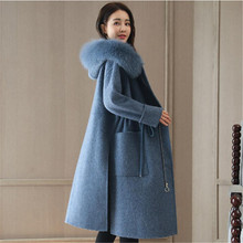 2018 New autumn Winter Women Woolen Coat Long High Quality fur Collar hooded Slim Drawstring Coat Parkas