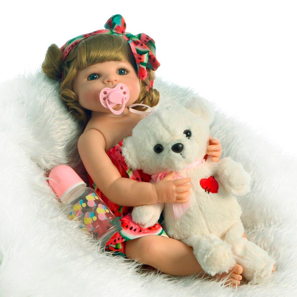 Da collezione 22 Pollici Reborn Baby Girl Doll Corpo Pieno di Silicone Realistico Della Bambola Della Principessa Bambini Giocattolo Per I Bambini Regalo di Natale di Andare A Dormire gioco-in Bambole da Giocattoli e hobby su  Gruppo 2