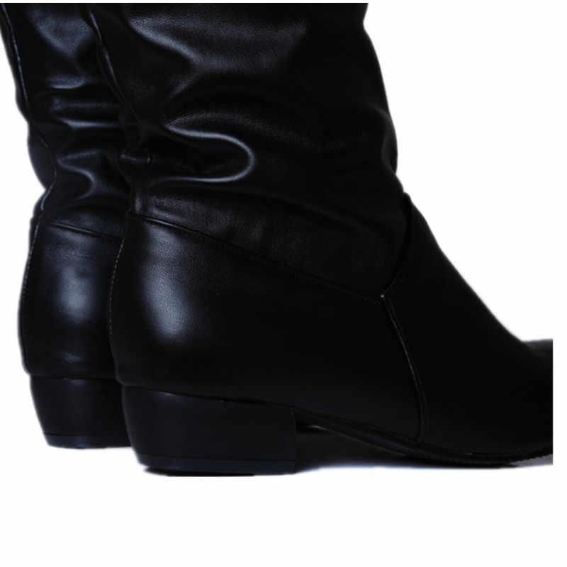 Asumer moda sıcak satış yeni gelmesi kadın çizmeler siyah beyaz kahverengi düşük topuk diz botları üzerinde kayma sonbahar kış bayanlar yüksek çizmeler