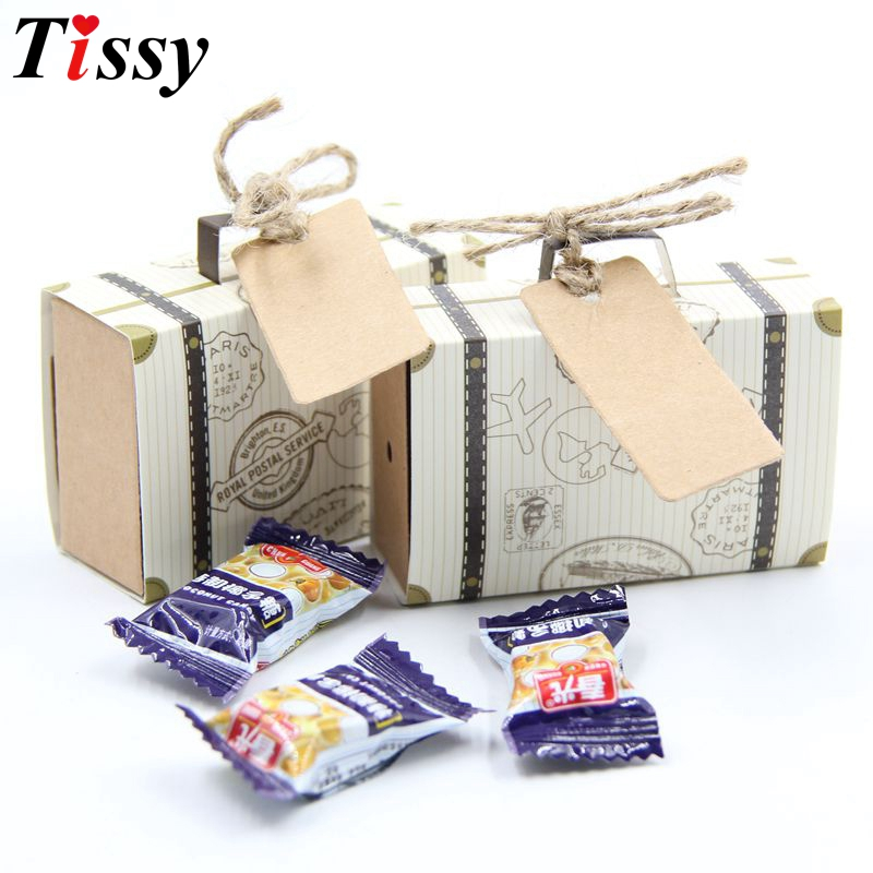 10PCS/Lot DIY Travel Paper Box Vintage Mini Suitcase Candy Box Sweet Bags Wedding Favor Gifts Decoration Kids Gifts Supplies