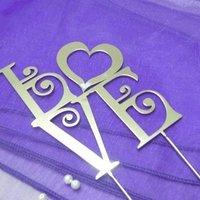 Бесплатная shipping-11cm серебристого металла Love Сердце Sweet Heart Юбилейная вензеля торт Топпер