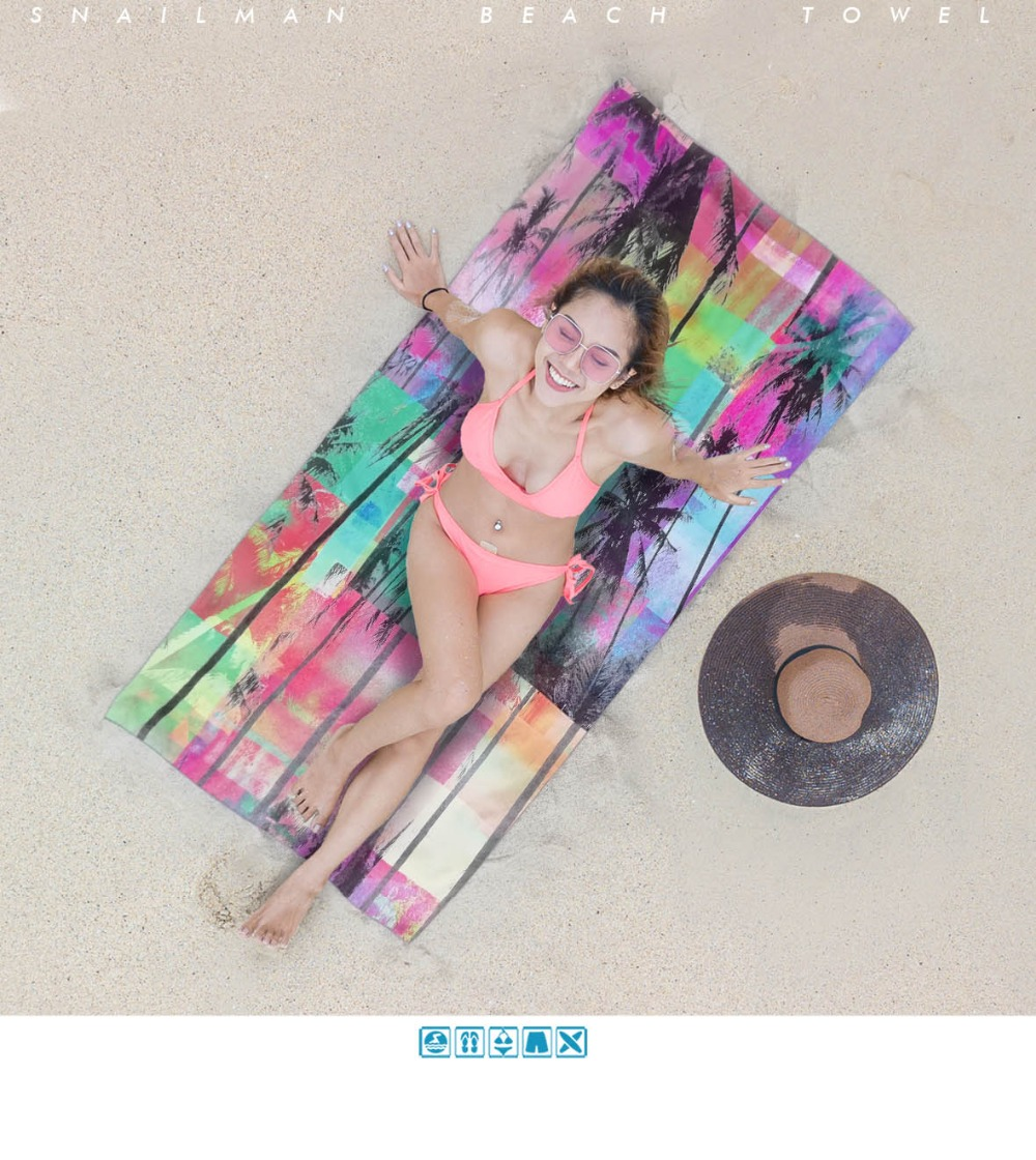 Palm tree Surfing Compact Beach Towel Microfiber Travel Fitness Towel Surfboard surf Towel