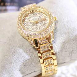 Новый горячая Распродажа золото и серебро римские цифровые весы часы Полный горный хрусталь бренд Женские часы Мода и повседневное
