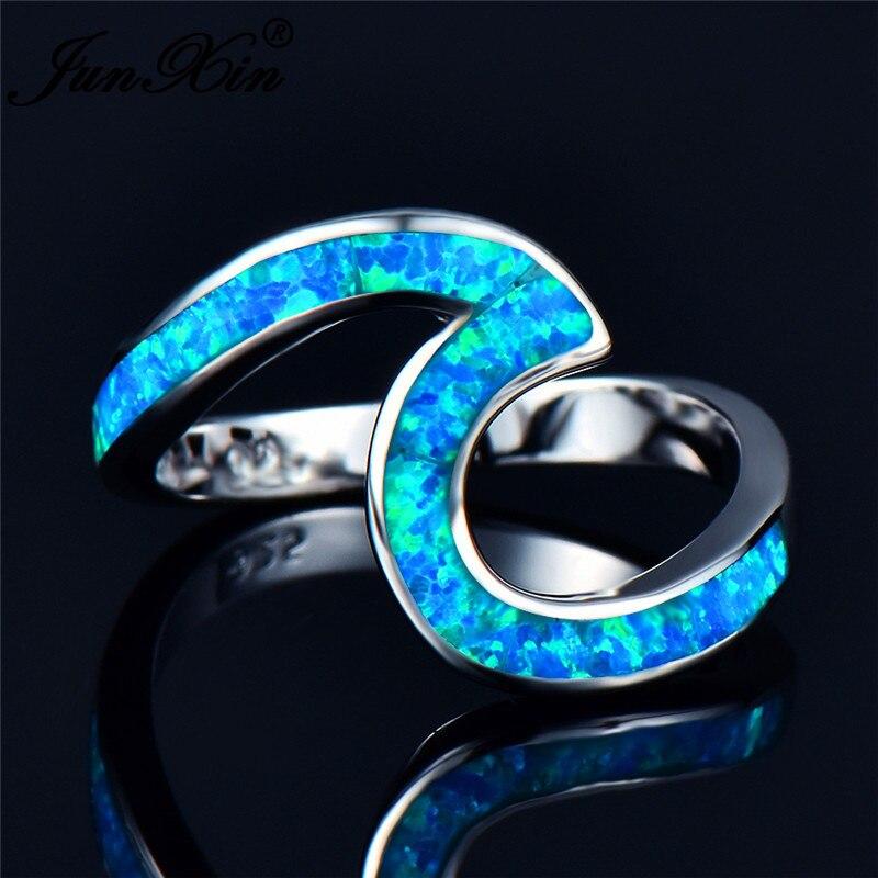 JUNXIN Top Qualität Männlich Weiblich Regenbogen Feuer Opal Welle Ringe Für Frauen Männer 925 Sterling Silber Gefüllt Blau/Grün opale Ring Geschenk