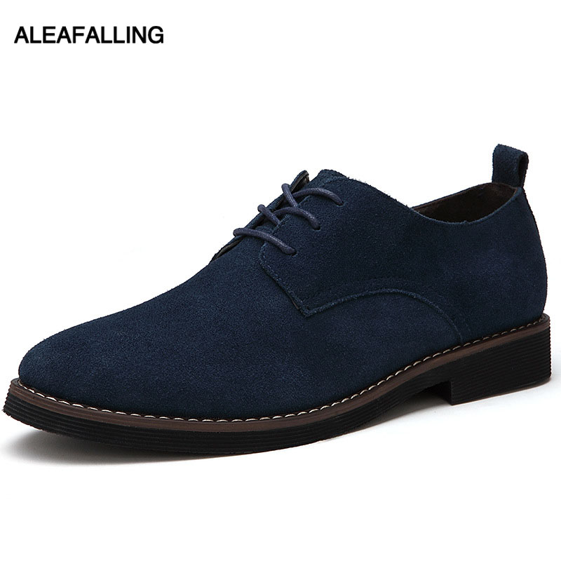Aleafalling Officer Men Formal Shoes Pointed Toe Flock Leather Oxford Shoes For Men Dress Shoes Business 38-44 2 Styles MDS15