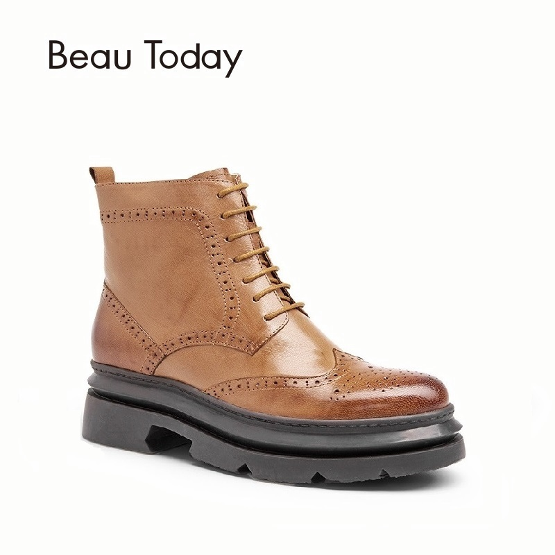 BeauToday Brogue Boots Women Platform Top Quality Genuine Leather Sheepskin Brand Lace Up Zipper Ankle Shoes