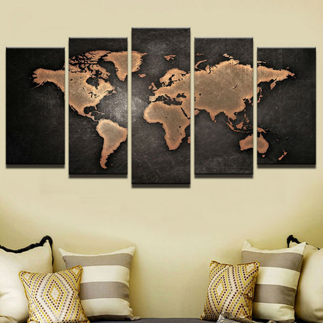 Paintings Hd Abstract Canvas Art Painting Living Room Wall 5 Pieces Retro World Map Picture Modular Framed