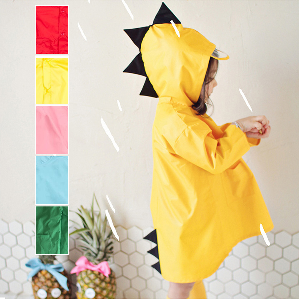 Cute Dinosaur Polyester Baby Raincoat Outdoor Waterproof Rainwear Children Impermeable Poncho Boys Girls Rain Jacket