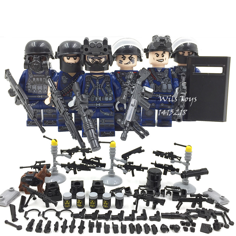 6pcs SWAT Team City Police World War 2 Military Soldier Army Special forces Building Blocks Brick Figures Toys Boy Gift Children new arrival city swat policeman special forces model police officer tactical unit minifigures building blocks bricks toy for kid