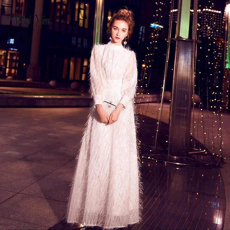 weiyin Dubai Long Sleeves Lace High-Neck Evening Dresses 2019 White Formal  Dresses Party Dress 931a2d492d37