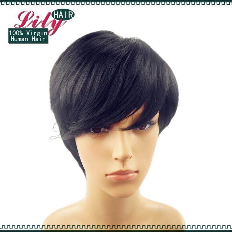 100 Menselijk Natuurlijke Haar Mode Lange Pony Pixie Cut Zwart Haar