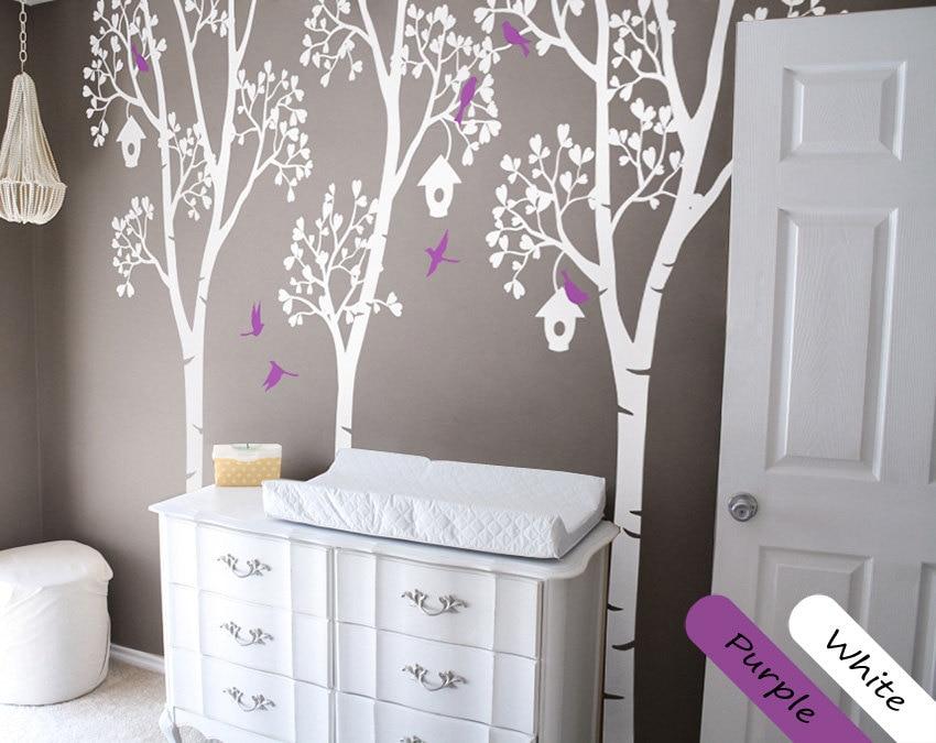 Stickers muraux en bouleau blanc avec oiseaux et nichoir autocollants muraux en vinyle pour chambre d'enfants décor de pépinière bébé tatouage mural JW226
