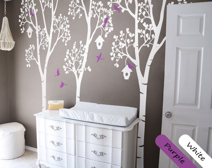Online Shop White Birch Tree Wall Decals With Birds And Birdhouse ...