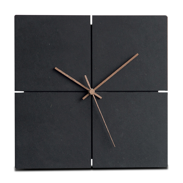 Large Wooden Hanging Wall Clock Silent MDF Wood European Square Wall Clocks  Room Office Simple Modern