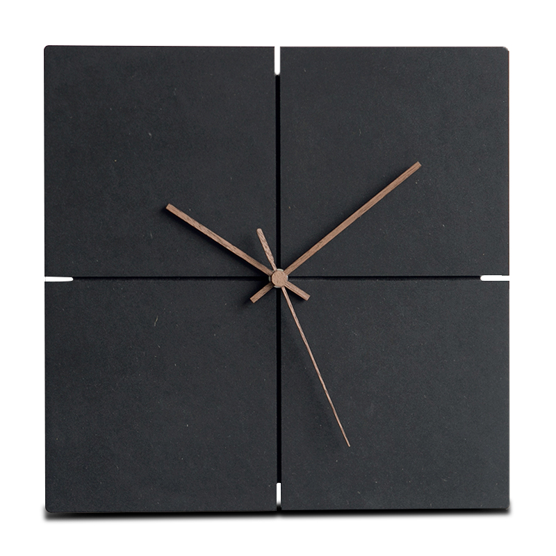 Large Wooden Hanging Wall Clock Silent MDF Wood European Square Wall Clocks Room Office Simple Modern Design Home Decor Black