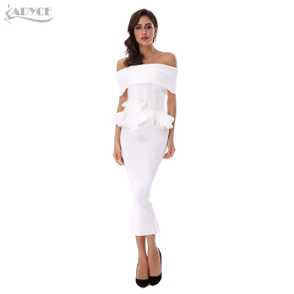 Adyce 2017 New Women Bandage Dress White Slash Neck Short Sleeve Vestidos Bow&Ruffles Ankle Length Celebrity Evening Party Dress