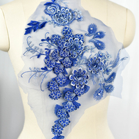 Blue 3D Flower Beaded Patch Applique Sewing On Embroidered Motif Patch Accessories Fashion Clothing Wedding Dress