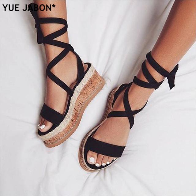 Brand Ankle Strap Women Sandals Open Toe Wedge Espadrilles Women Lace Up Platform Sandals Women Fashion Party Dress Shoes Woman