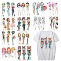 Schöne Mädchen Patch Set Wärme Transfer Vinyl Waschbar Aufkleber für Mädchen Kleidung Shirt Appliques Streifen auf Kleidung Thermische Drücken