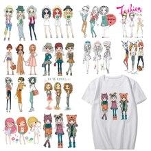Прекрасный набор патчей для девочек теплообмена виниловые стираемые наклейки для девочек одежда рубашка аппликации полоски на одежде термопресс