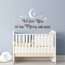 Wall Decoration I Love You To The Moon And Black Wall Decoration Nursery Quotes Ornament Removeable Poster Mural Kidroom LY280 wall sticker how can i say i love you quotes decoration for livingroom bedroom poster vinyl art removeable mural ly609