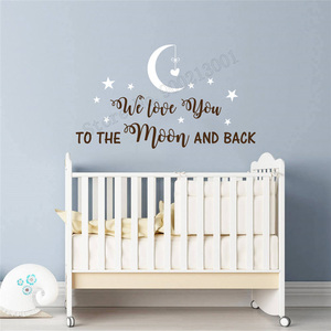 Wall Decoration I Love You To The Moon And Black Wall Decoration Nursery Quotes Ornament Removeable Poster Mural Kidroom LY280(China)