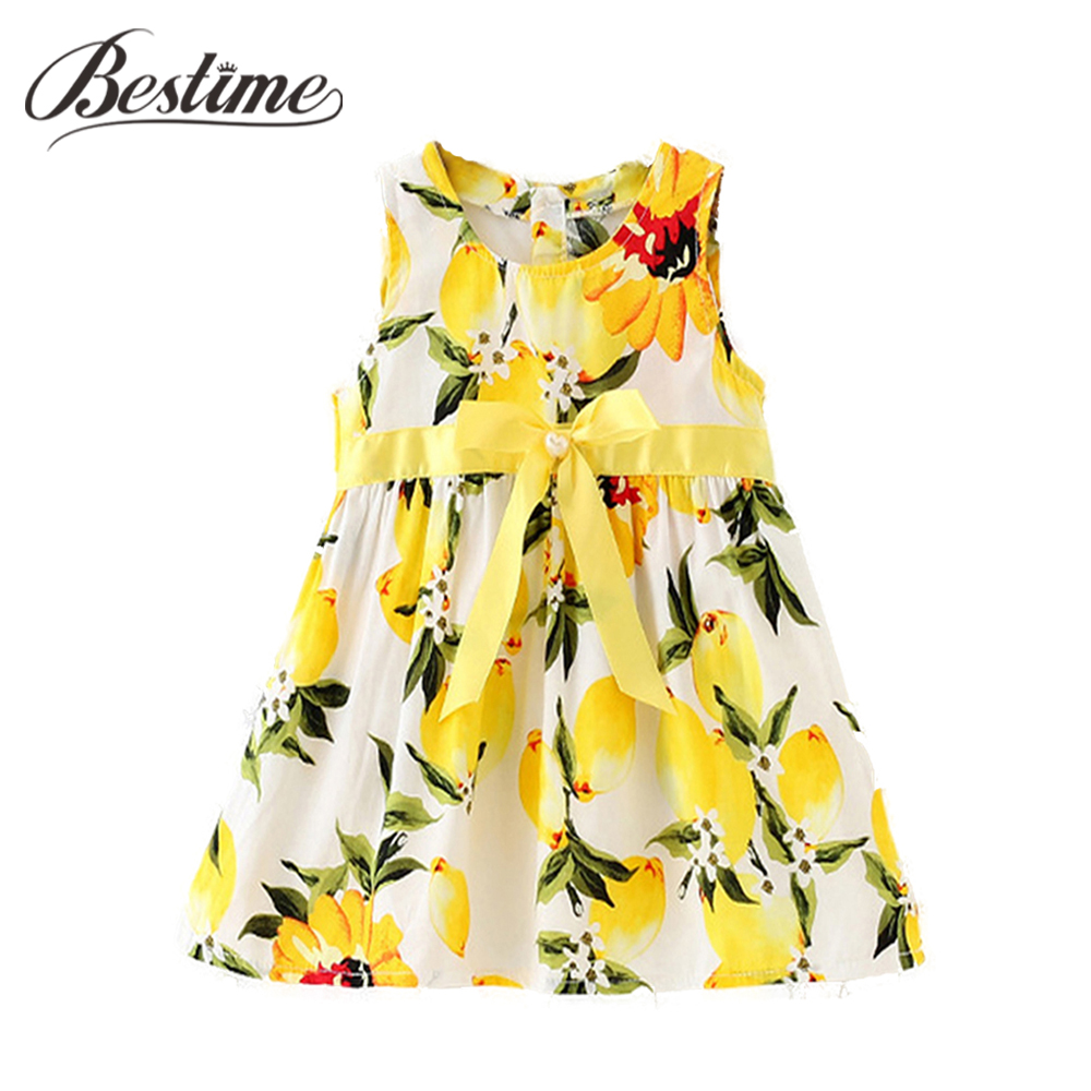 Summer Infant Dress Baby Lemon Dresses for Girls Sleeveless Baby Sundress Fashion Baby Girls Clothing new summer style girls dresses fashion knee length beach dresses for girls sleeveless bohemian children sundress girls yellow 3t