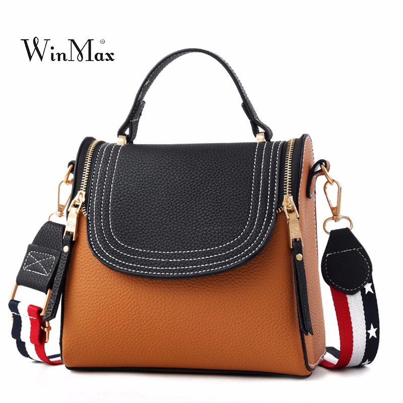 2018 New Women Handbag Patchwork Female PU Leather Shoulder Bag Zipper Tote Bags Ladies Crossbody Messenger Bags Fashion Bolsas festina часы festina 16364 6 коллекция classic