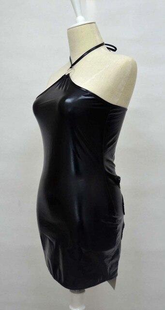 Grande taille XXL Sexy fétiche robe combinaison Costumes Lingerie cuir fétiche Latex Catsuit porter femmes Bondage fessée jupe