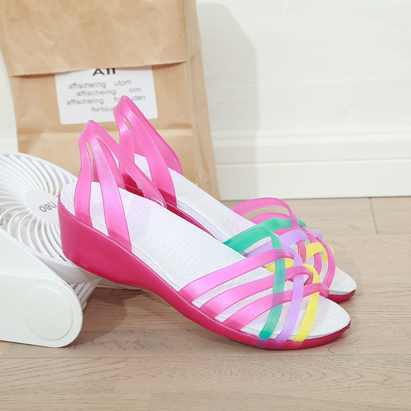 Summer outdoor women mixed rainbow colors jelly sandals 2019 fashion platform beach wedges no strap peep toe casual female shoes