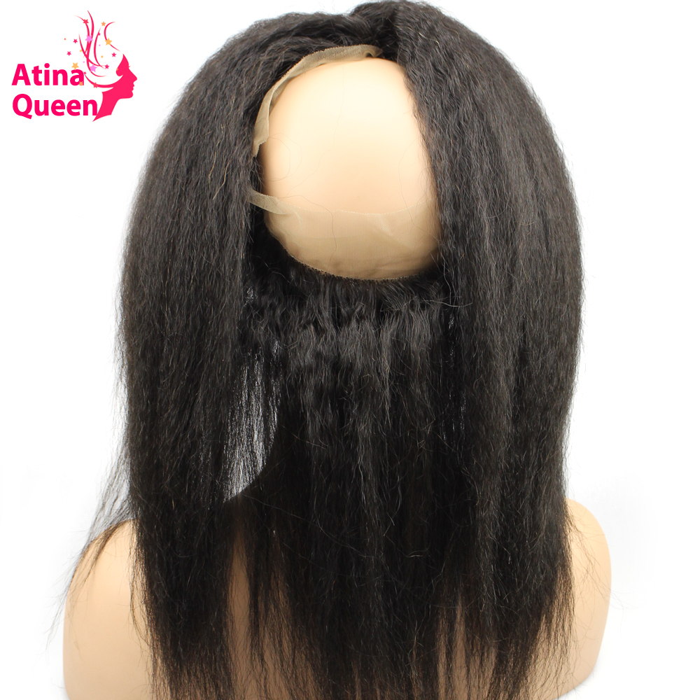 Atina Queen Kinky Straight Pre Plucked 360 Lace Frontal Closure with Baby Hair Natural Afro Italian Coarse 100% Remy Human Hair