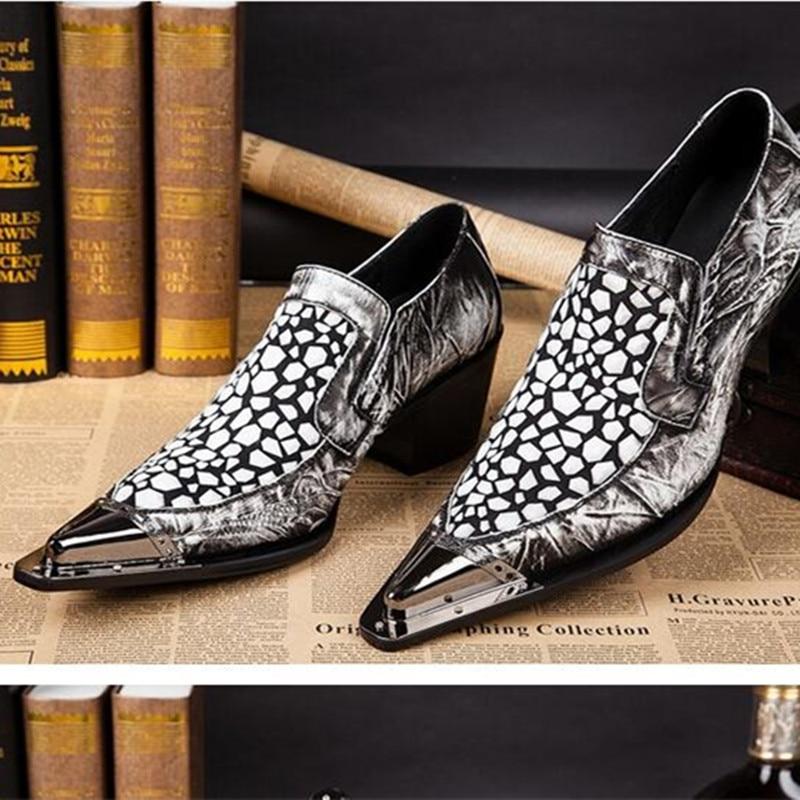Balck white zapatos alligator shoes for men mens high heels metallic oxfords men dress shoes luxury