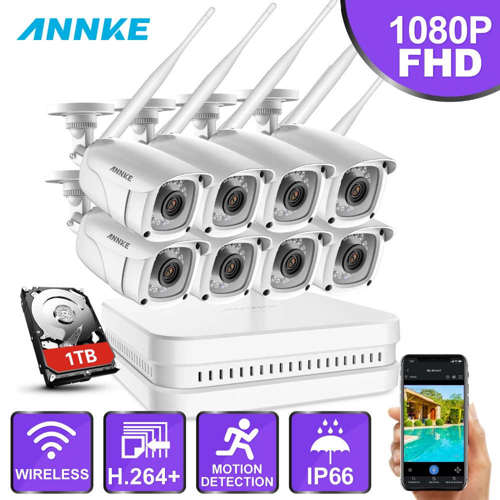 ANNKE 8CH HD 1080P WiFi NVR Video Surveillance System With 8X 2MP Bullet Weatherproof IP Camera 100ft Night Vision With Smart IR